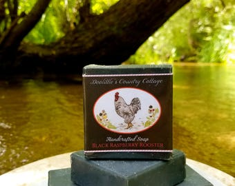 "Soap - ""Black Raspberry Rooster"" - Animal Soap, Black Raspberry Soap, Gift Soap, Handmade Soap, Handcrafted Soap, Activated Charcoal"