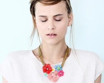 Heart necklace, valentine's day gift for her,  Pastel Statement bib Necklace, original handmade jewelry