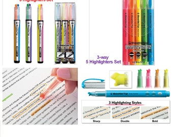 Kokuyo Beetle Tip Highlighters Set: Dual Colors and 3-way markers