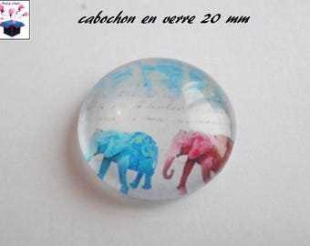 1 cabochon clear 20mm elephant theme
