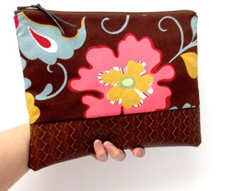 Zipper Clutch Purse, Pink Yellow Green Flowers, Brown Vegan Leather