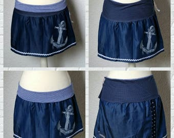 Rock jeans blue Maritim points to the anchor contact stripes skirt