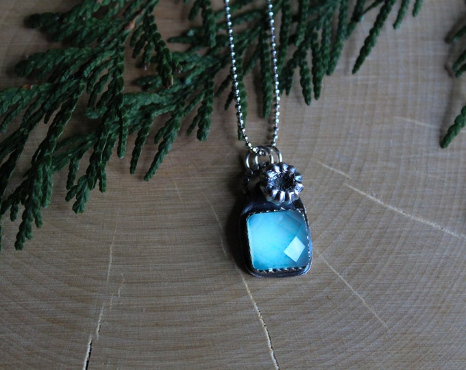 Aqua Chalcedony and Silver Cast Necklace
