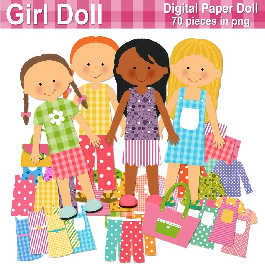 paper doll digital paper doll cut out doll printable doll rh etsy com paper doll clip art images paper doll clip art images
