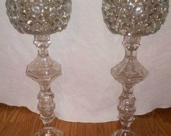 """Set of 16"""" Glass Candle Holders"""