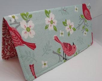 Wild Birds Checkbook Cover Coupon Holder Clutch Purse Billfold Ready Made