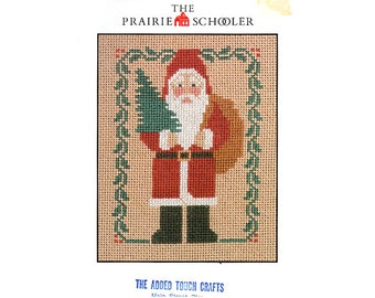 The Prairie Schooler Santa Cross Stitch Card, Christmas Cross Stitch, Prairie Schooler Christmas Pattern, Christmas, by NewYorkTreasures