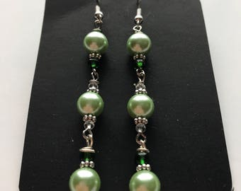 Green Beaded Dangle Earrings, Green Dangle Earrings, Green Beaded Earrings, Green Earrings, pale green bright green earrings, dangle earring