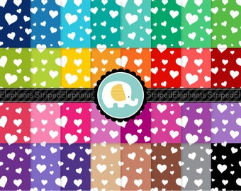 Crazy Heart Digital Paper Pack, Hearts Digital Paper Pack, Hearts Digital Scrapbook Paper, Instant Download, Commercial Use
