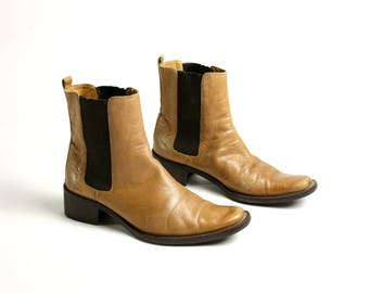 Vintage 80's 90's  Light Brown Leather Pointy Toe Cowboy Boots EUR 38/ US 7.5/ UK 5