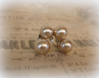 classic vintage pearl earrings graduated double blown glass pearls dreamiest shade champagne silver plated setting clip ons wedding bridal