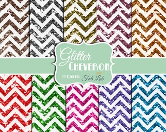 Multi-colored Chevrons, Glitter, Sparkling, Digital, 12x12, Paper Pack, Instant Download
