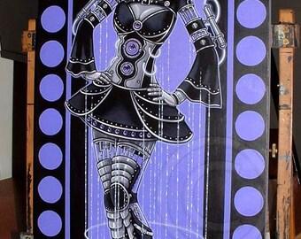 "Glitch 12""x24"" Original Acrylic Painting Purple Fairy Cybergoth Robot Android Cyberpunk Dreadfall"