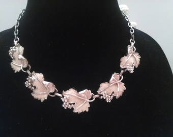 Vintage Silver and Enamel Curled Leaf & Grapes  Necklace by Sarah Coventry Adjustable
