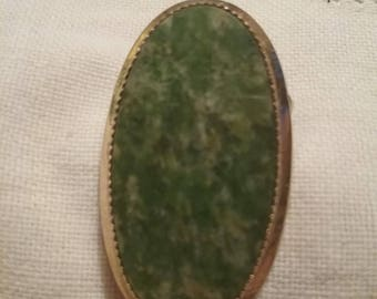 Jade and Gold Oval Brooch