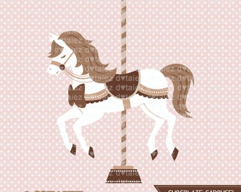 Chocolate Carousel, carousel clipart, baby carousel, baby clipart
