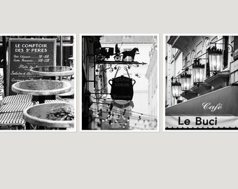 Paris wall art set of 3 prints Large dining room wall art Paris Black and white print set of 3 Paris cafe art Triptych Wall Art 11x14 24x30