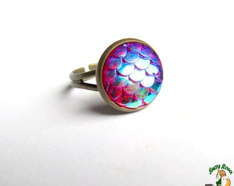 Ring scales Dragon Mermaid Aura resin 12mm iridescent red Support Bronze reflections Blue Gold Green