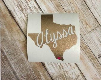 Texas Personalized Decal | Personalized State Decal | Yeti Decal | Car Decal | Texas Decal | Laptop Decal | Monogram | ALL STATES AVAILABLE
