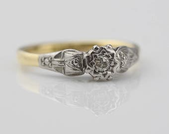 Yellow and Platinum Gold Engagement Ring Single Diamond Claw Set Stone Ladies Ring  Size UK J 1/2 and US 5  Stamped 18ct Plat