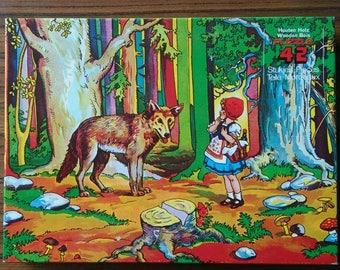 Vintage wooden jigsaw puzzle Little red ridinghood rotkapchen roodkapje puzzel