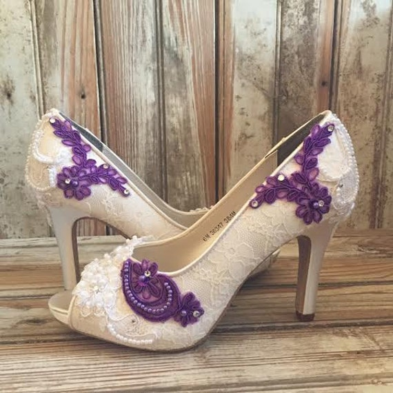 purple wedding shoes for bride colored bridal shoes purple ivory white all lace beaded peep 6924