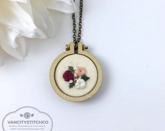 Pendant Necklace- Mini Embroidery Hoop, Hand Embroidered, Unique, Statement piece. Gift for her, Anniversary Gift, Bridesmaid gift.