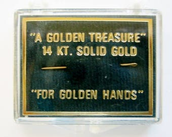"""14K Solid Yellow Gold, Sewing Needle """"A Golden Treasure"""" Perfect Christmas Gift For Grandma/Mother."""