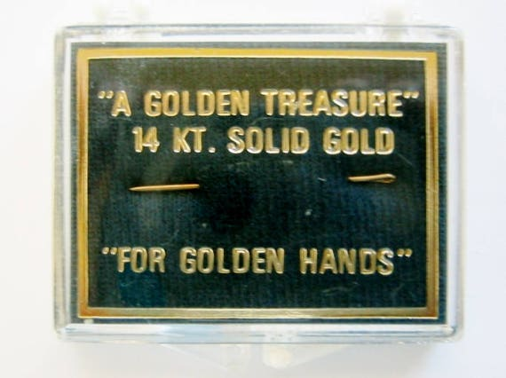 "14K Solid Yellow Gold, Sewing Needle ""A Golden Treasure"" Perfect Christmas Gift For Grandma/Mother."