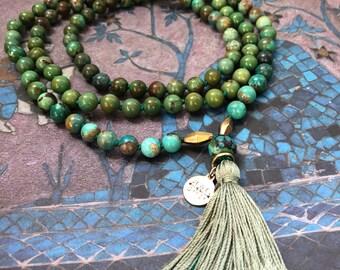 Genuine TURQUOISE <<TRUTH>> Gemstone Mala Beads Necklace // Silk Tassel // Brass    108 // Yoga // Meditation // Japa // Mantra