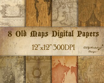 Old maps digital paper / digital old maps papers for scrapbooking cards diy invitations / Vintage papers with maps / Vintage maps papers