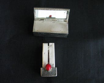 Silver Lipstick Case Mirror Antique Silver with Red Stone