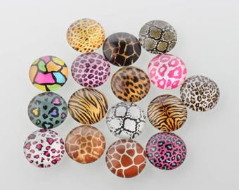 10 Animal Print Mixed Design Round Glass Cabochons 12mm (062)