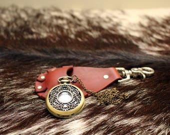 Steampunk Leather Pocket Watch Holster---Light Brown