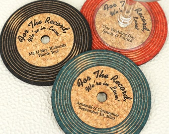 Wedding Favor Coasters, Personalized Vinyl Record Shaped Cork Coaster - Set of 12