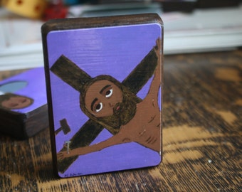 """2.5"""" X 3.5"""" Jesus is Nailed to the Cross Byzantine Folk style icon on wood by DL Sayles"""