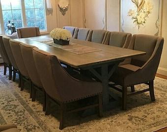 Rustic Trestle Base Table, Farmhouse X-base Table, Dining Table (Reclaimed Wood)