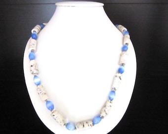 Cat Eye Beaded Necklace Cornflower Blue with Tubular Splatter Beads 20 Inches