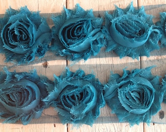 Shabby Chic  Rose Trim in TEAL 2 1/2 inch- 1/2 yard and 1 yard