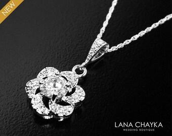 Cubic Zirconia Bridal Necklace Crystal Silver Necklace Wedding CZ Floral Charm Necklace Bridal Crystal Jewelry Clear Cubic Zirconia Pendant