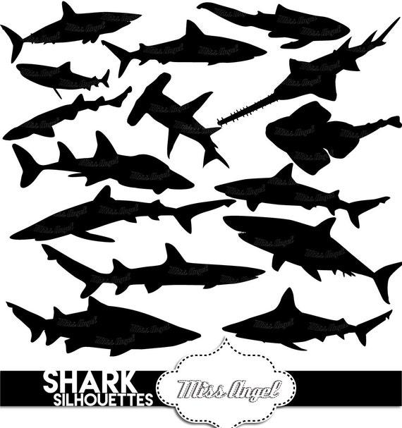 15 Sharks Silhouettes Clipart. Digital shark silhouette ...