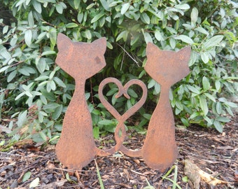 Rusty Love Cats / Metal Love Cats / Heart Tails / Rusty Cat Garden Decor / Metal Heart Decor / Cat Garden Gift / Cat Lover / Valentine Gift