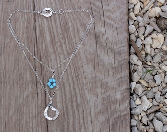 Layered Necklace, Teardrop Necklace, Silver Pendant Necklace, Unique Necklace, Boho Silver Jewelry, Layered Silver Necklace, Blue Necklace
