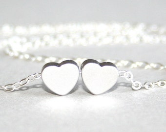 Silver Hearts Necklace, Love Necklace, Sterling Silver chain available