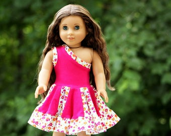 Fits like American Girl Doll Clothes - One Shoulder Twirly Dress in Hot Pink
