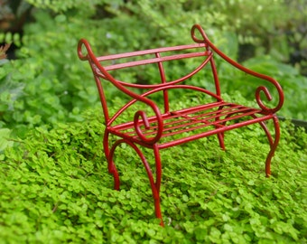 Red Fairy Garden Accessories, Miniature Garden Bench