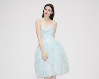 50s Pastel Blue Princess Dress - Vintage 1950s Blue Wedding Dress - 50s Prom Dress - The Naiad Dress - 1057