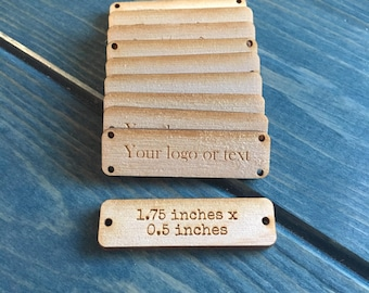 Wooden tags, 1.75 inch x 0.5 inch, loo tags, packaging tags, branding tags, wood hat tags, price tags, sew on tags, packaging, engraved wood