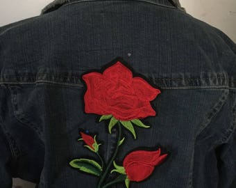 Large Jacket Patch Red Rose Biker Applique Patch 10 inches
