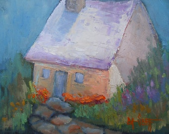 "Impressionist House Painting, Fairy House, Small Landscape Painting, 6x8"" Oil Painting, Impasto Painting, Free Shipping in US"